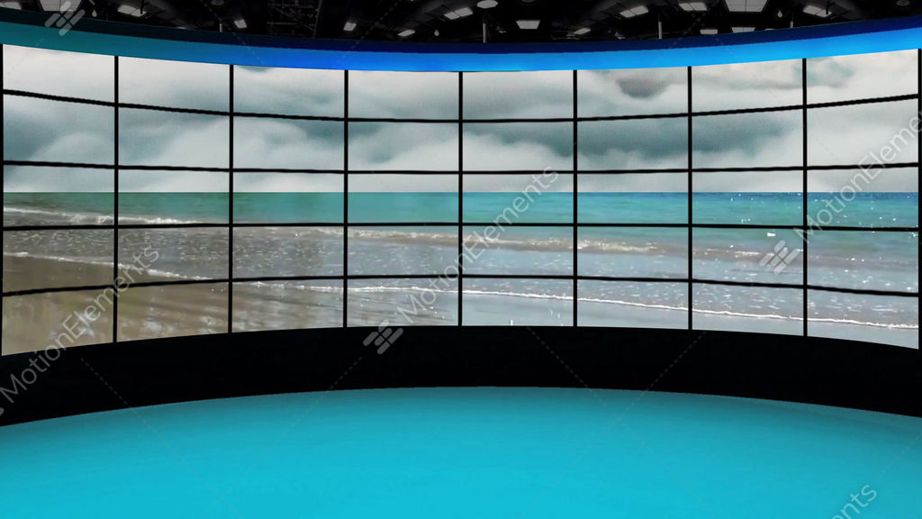 HD News 36 TV Virtual Studio Green Screen Background Blue Beach GIF