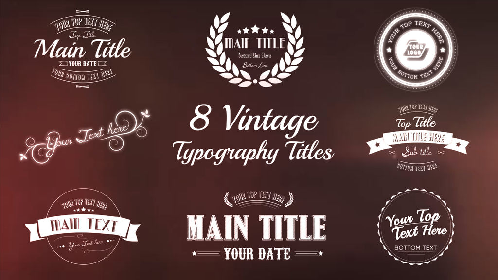 vintage typography titles package after effects template after